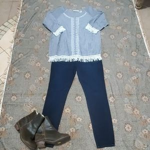 New Directions 100% cotton Fringe Striped Blouse